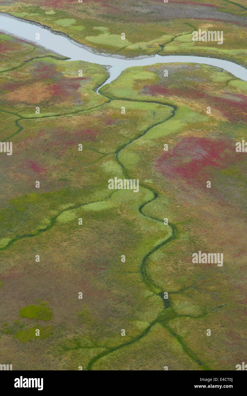 Aerial view of mud flat along Cook Inlet, Alaska. - Stock Image