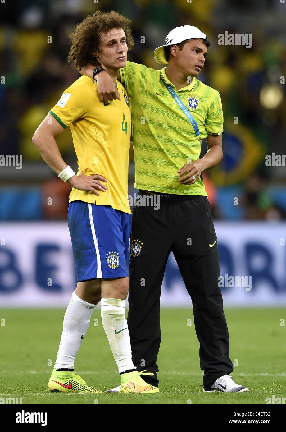 Belo Horizonte, Brazil. 8th July, 2014. Brazil's David Luiz (L) is consoled by Thiago Silva after a semifinal - Stock Image