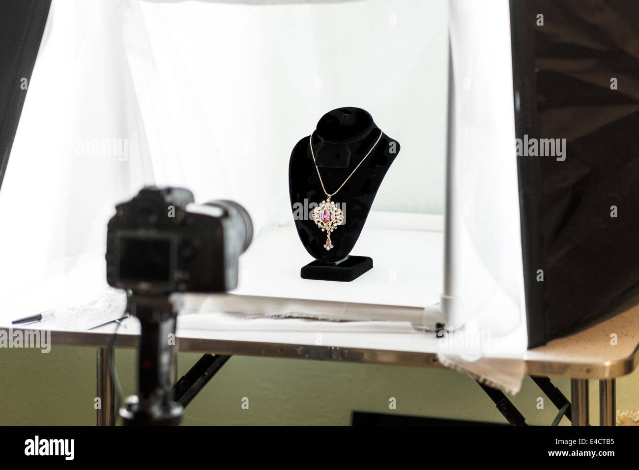 A Home Made Light Tent Setup For Shooting Jewelry Indoors Seen Is A