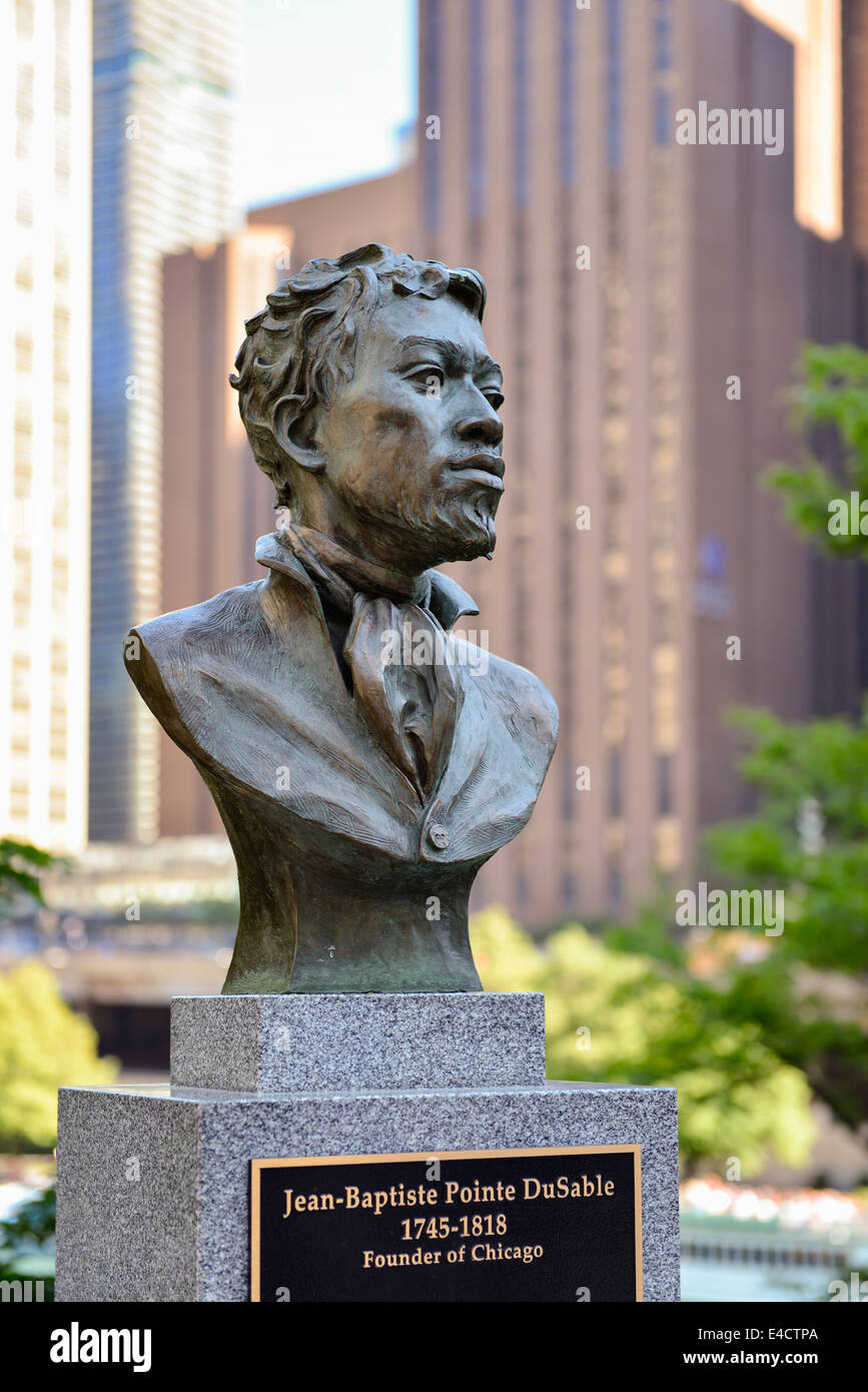 Jean-Baptiste Pointe DuSable, Founder of Chicago, Bust Sculpture in Pioneer Court along The Magnificent Mile, Michigan - Stock Image