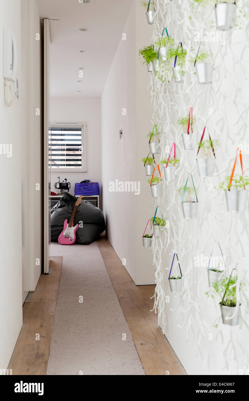 Algue wall installation by Vitra on wall of corridor. - Stock Image