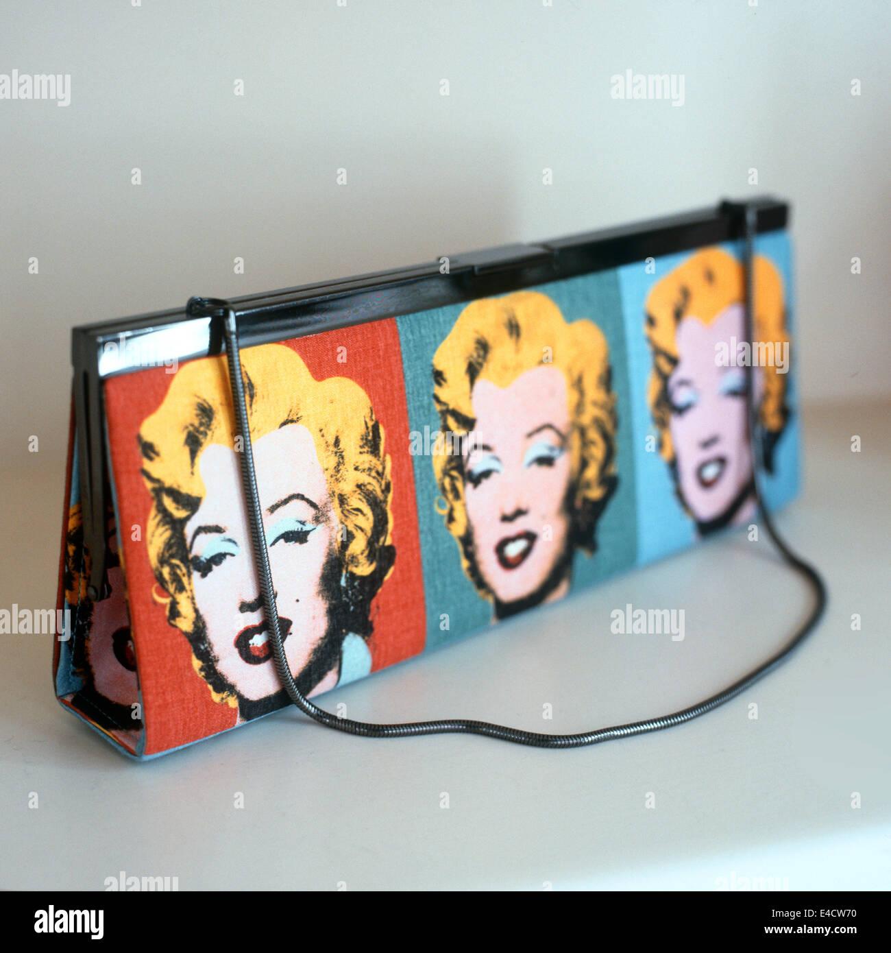 Warhol Marilyn print handbag / purse - Stock Image