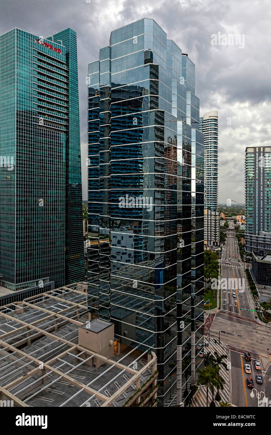 Storm over downtown near 1221 Brickell Office high-rise building , Miami, Florida at Corner of Brickell Avenue and - Stock Image