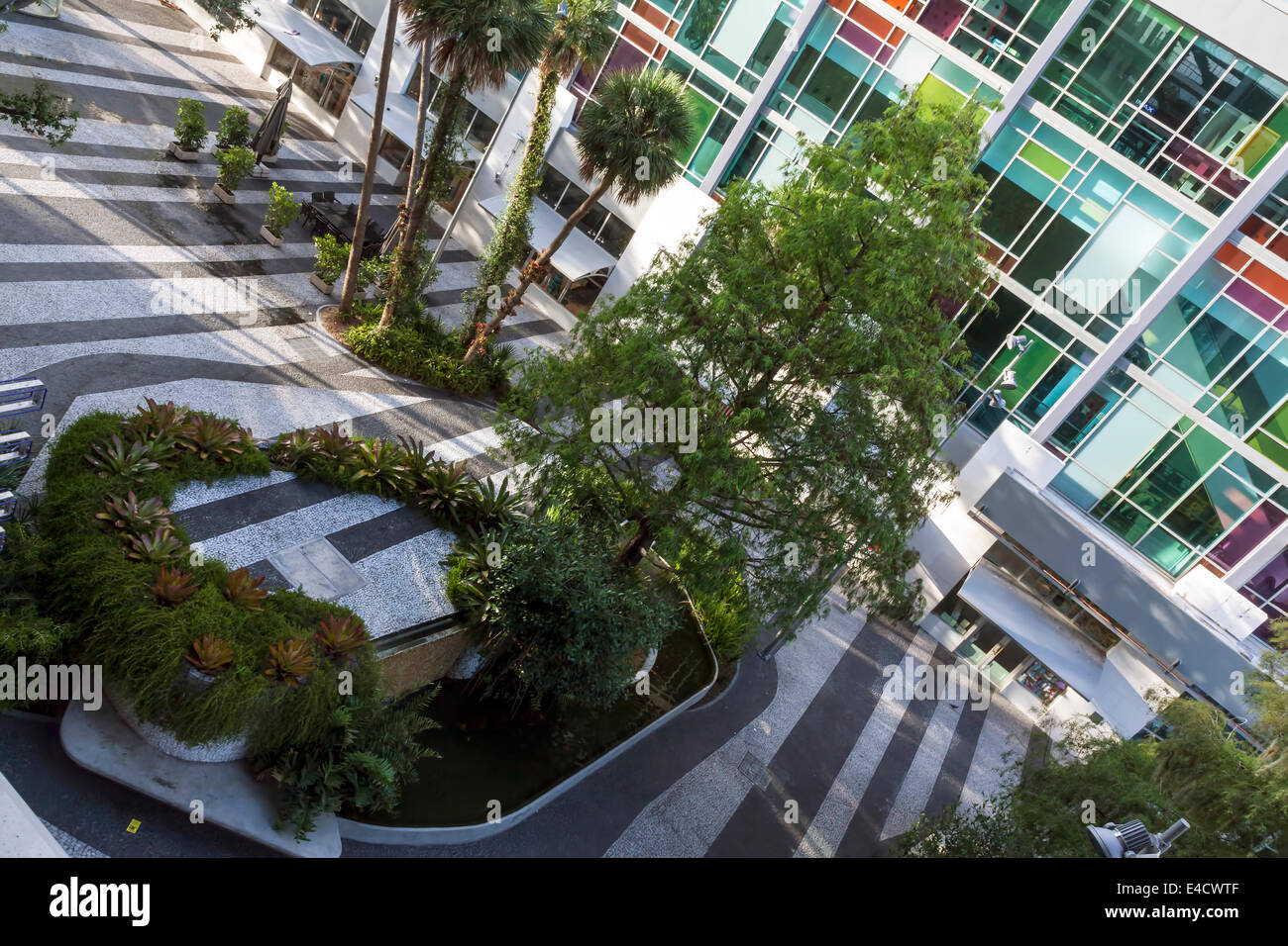Lincoln Road Mall Pedestrian Road, cinema facade, pavers, planters and water features viewed from 1111 Lincoln Road Stock Photo