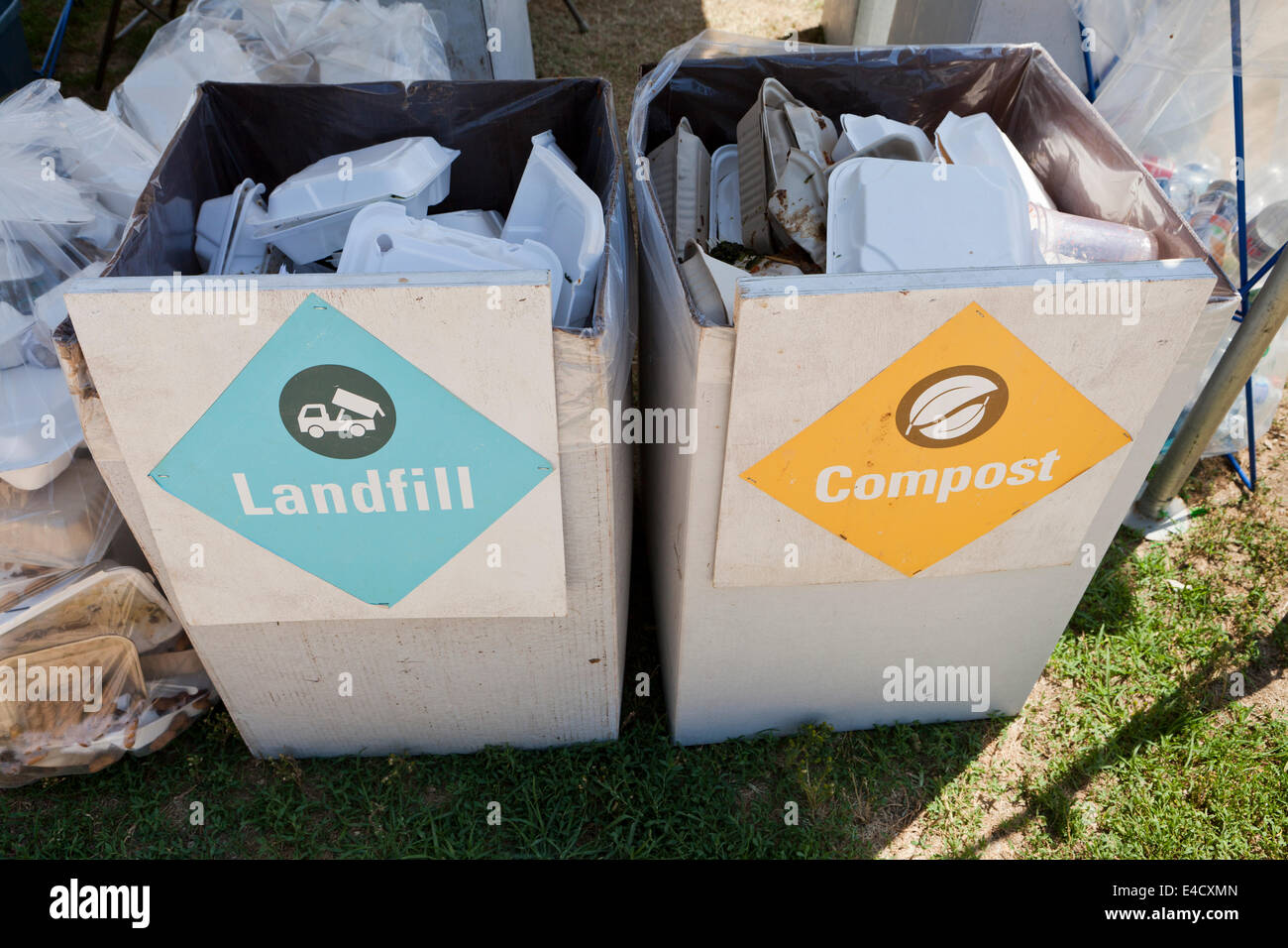 Landfill and compost refuse boxes at an outdoor event - USA - Stock Image