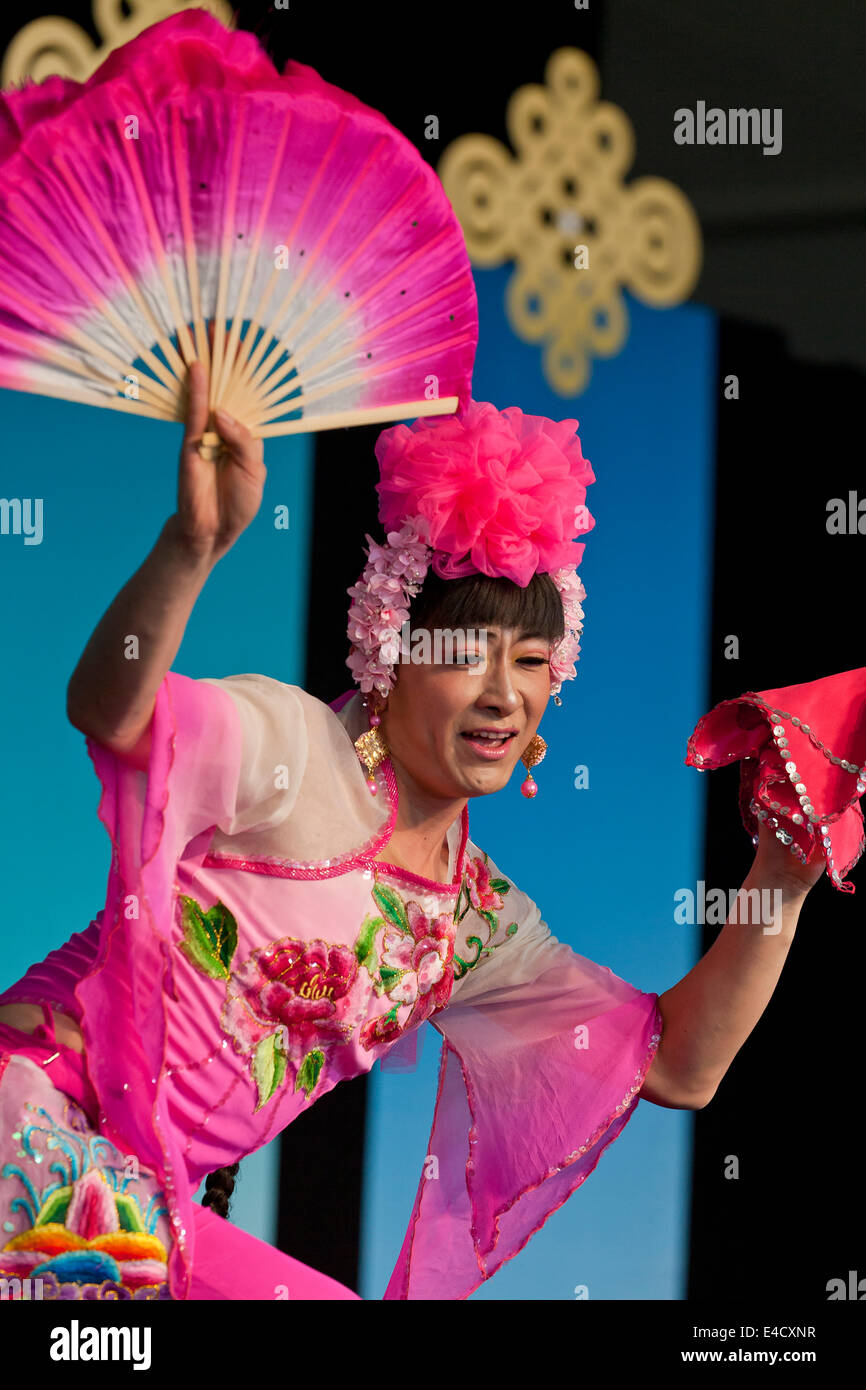 A Chinese female impersonation dancer on stage - USA Stock Photo