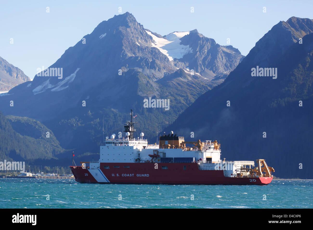 Coast Guard ship Healy, Resurrection Bay, Seward, Alaska. - Stock Image