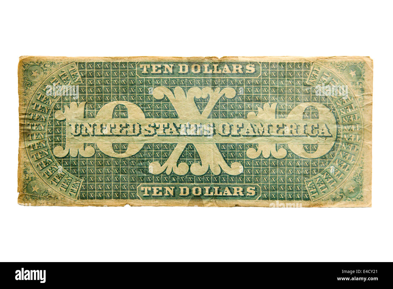 Reverse view of rare 1861 $10 US banknote cutout - Stock Image