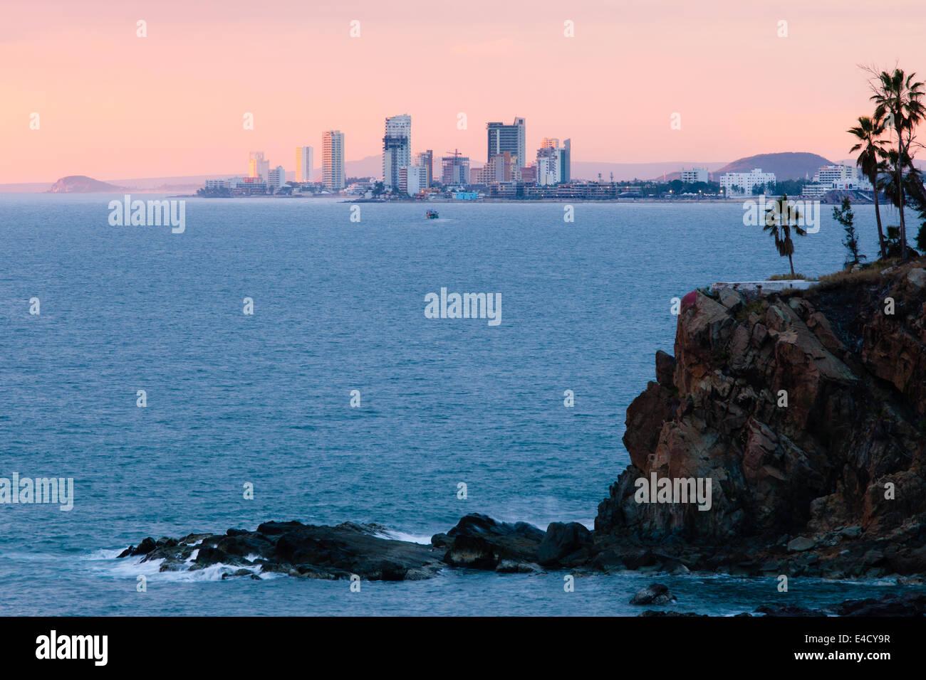 View of the Zona Dorada (Golden Zone) from across the bay in Mazatlan, Sinaloa, Mexico. - Stock Image