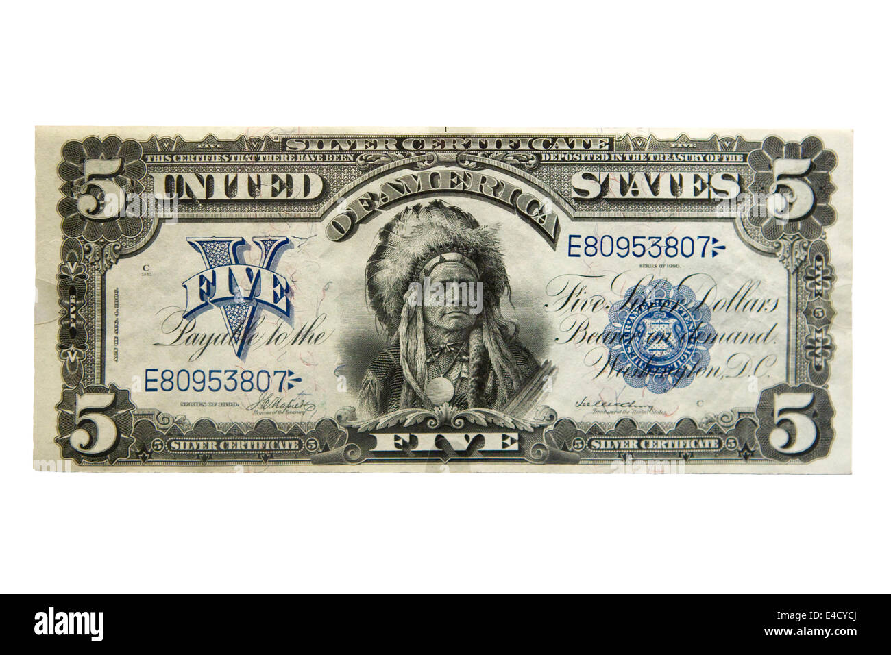 Obverse view of rare 1899 $5 (The Chief Note)  American banknote cutout - Stock Image