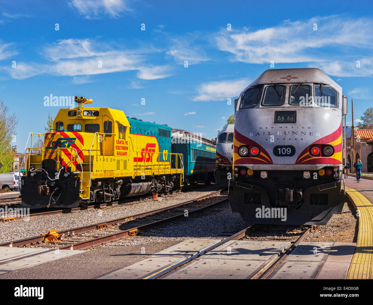 Trains in Santa Fe Station, New Mexico. - Stock Image