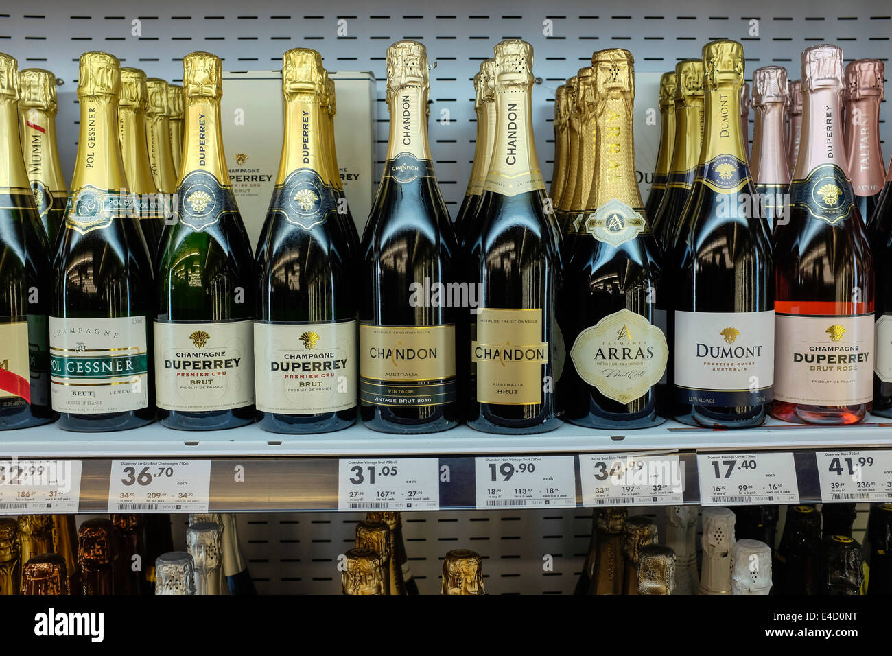 A selection of sparkling wines in a liquor store in Australia - Stock Image