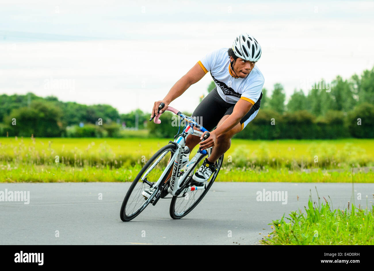 Cyclist racing in criterium event on dedicated cycle circuit at York Sport Village York Yorkshire Stock Photo