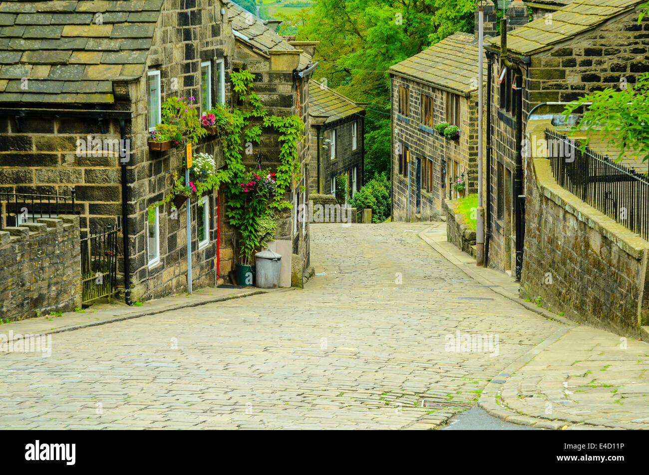 The cobbled main street at Heptonstall West Yorkshire - Stock Image