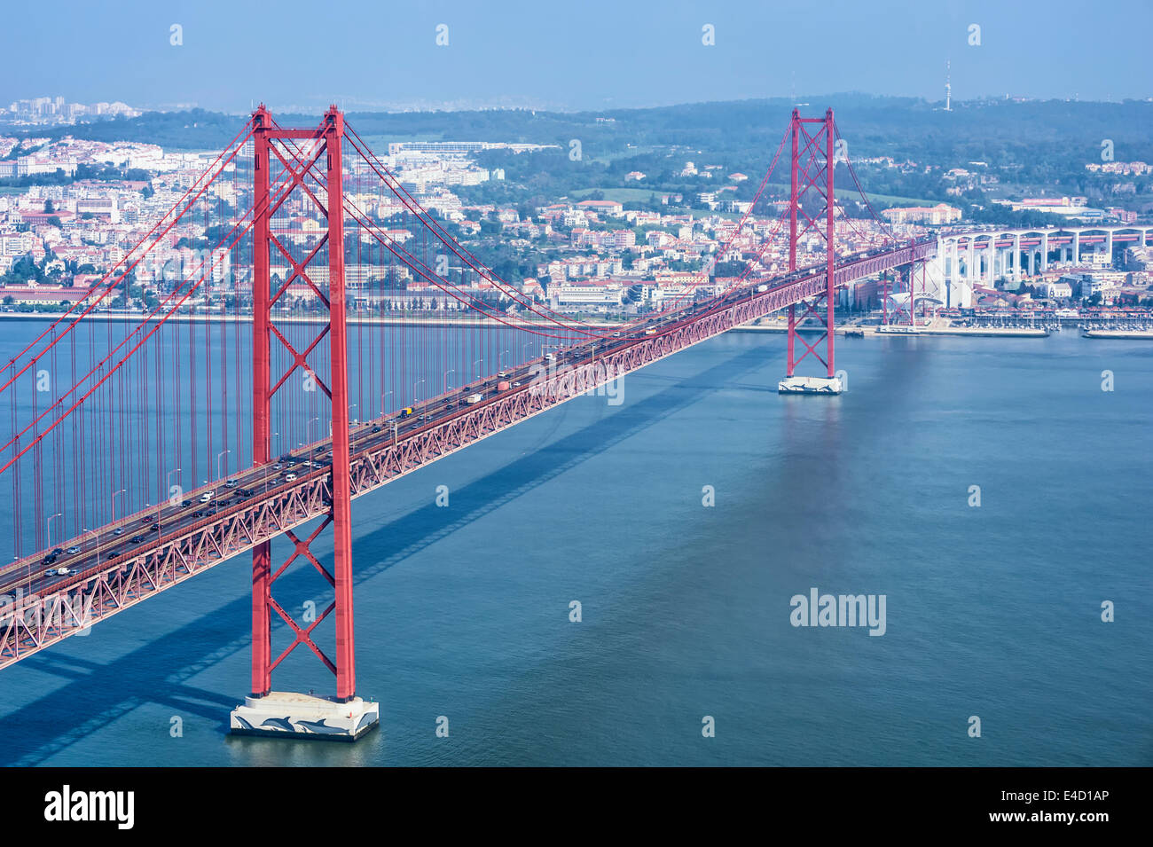 Ponte 25 de Abril (25th of April Bridge) over the Tagus river, Lisbon, Portugal, Europe - Stock Image