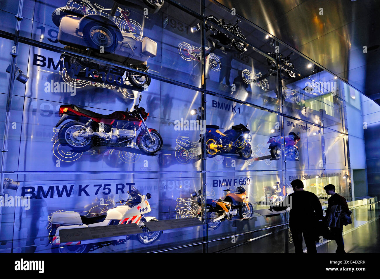 BMW motorcycles behind glass wall, BMW Museum, Munich, Upper Bavaria, Bavaria, Germany - Stock Image