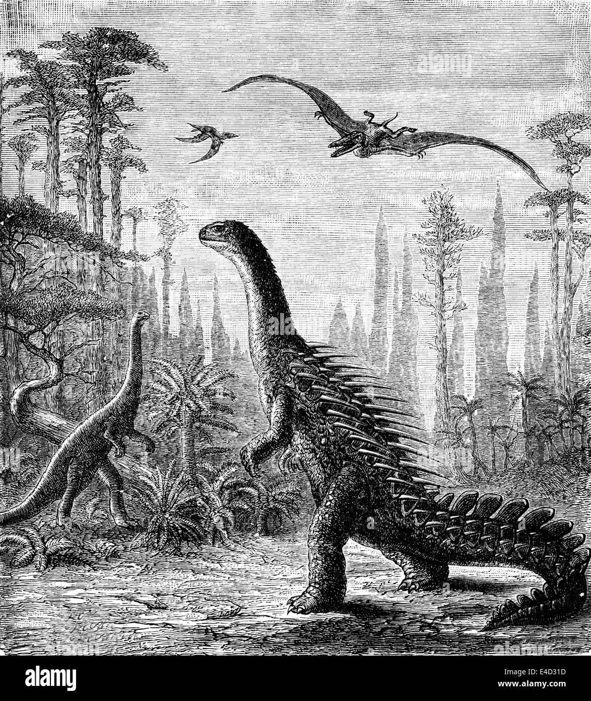 Prehistoric times, dinosaurs, historical illustration,1859 - Stock Image