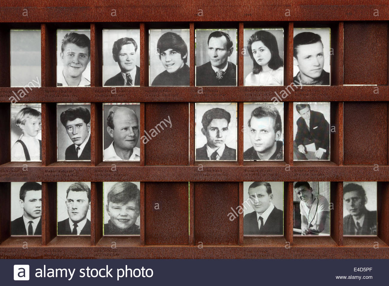 Photos of people who died in attempts to cross the Berlin Wall at the Berlin Wall Memorial in Berlin, Germany. Stock Photo