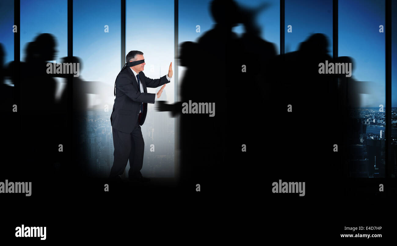 Composite image of silhouette of business people walking - Stock Image