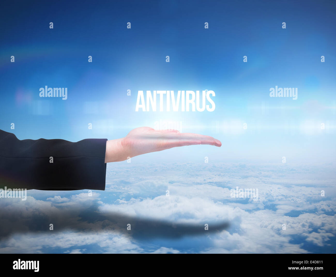 Businesswomans hand presenting the word antivirus - Stock Image