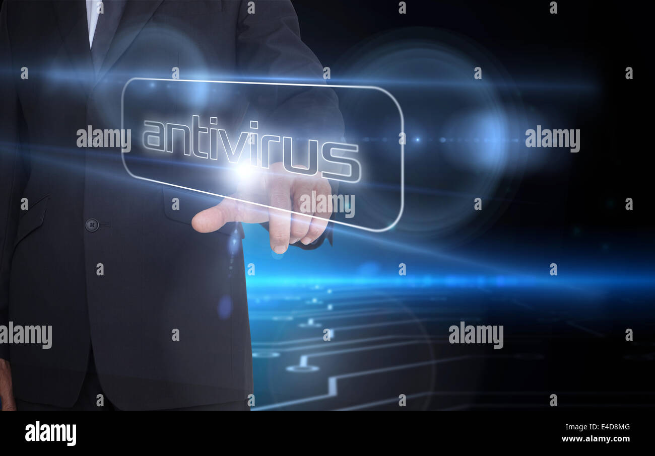 Businessman pointing to word antivirus - Stock Image
