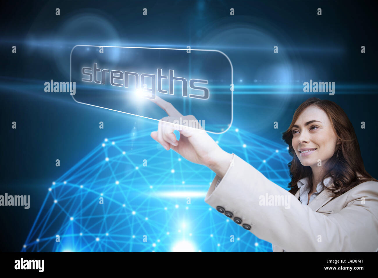 Businesswoman pointing to word strengths - Stock Image