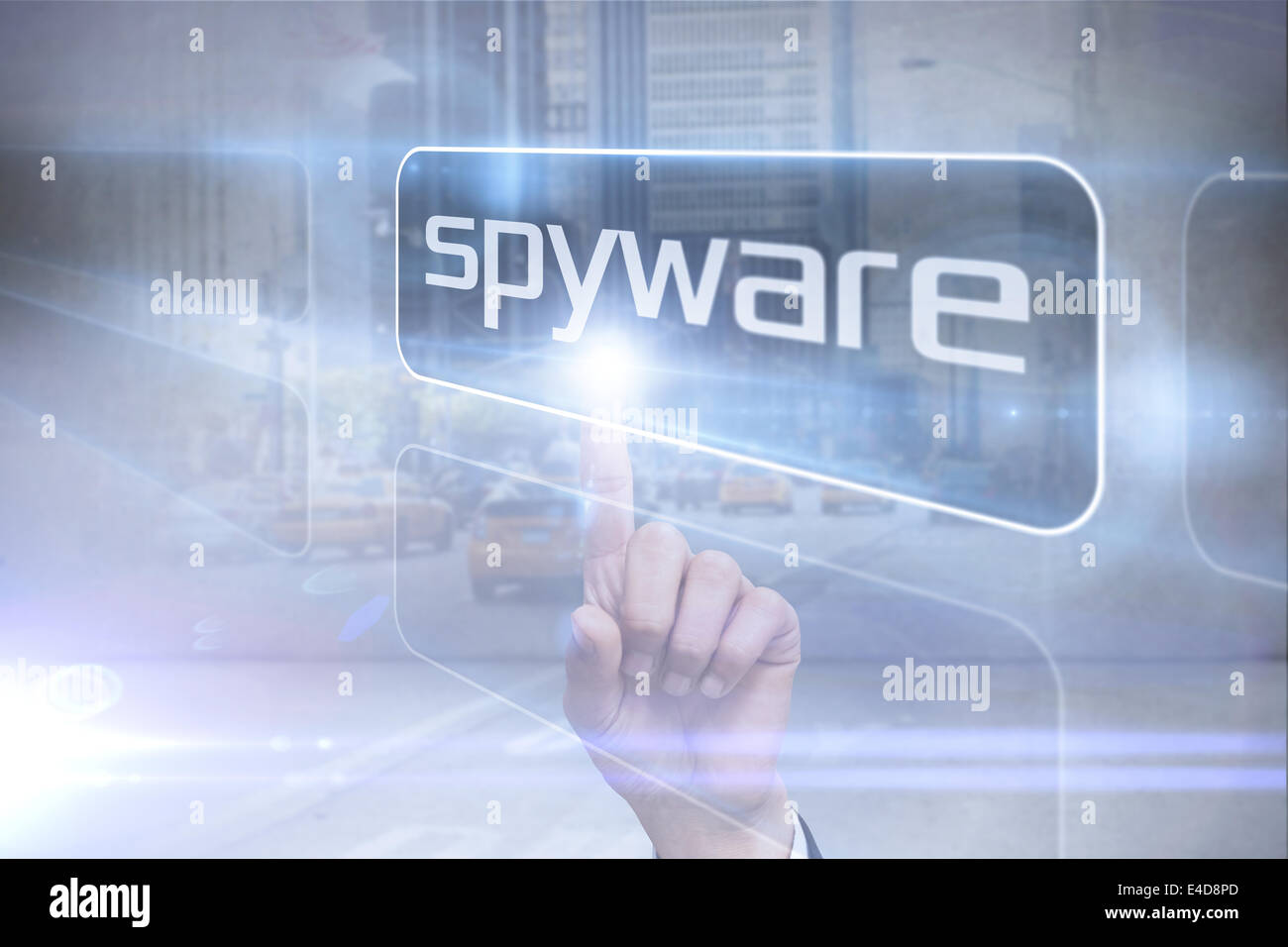 Businessman pointing to word spyware - Stock Image