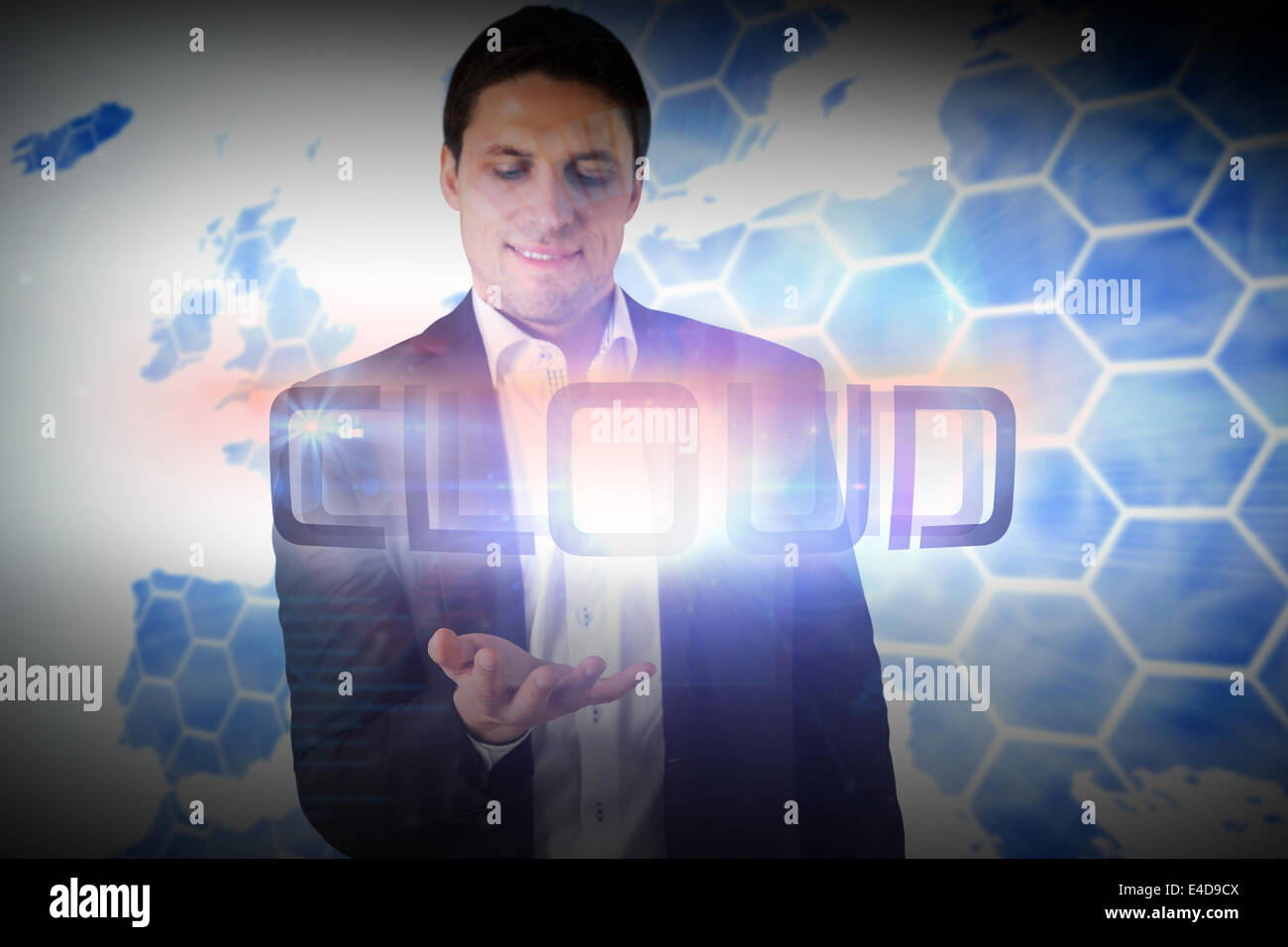 Businessman presenting the word cloud - Stock Image