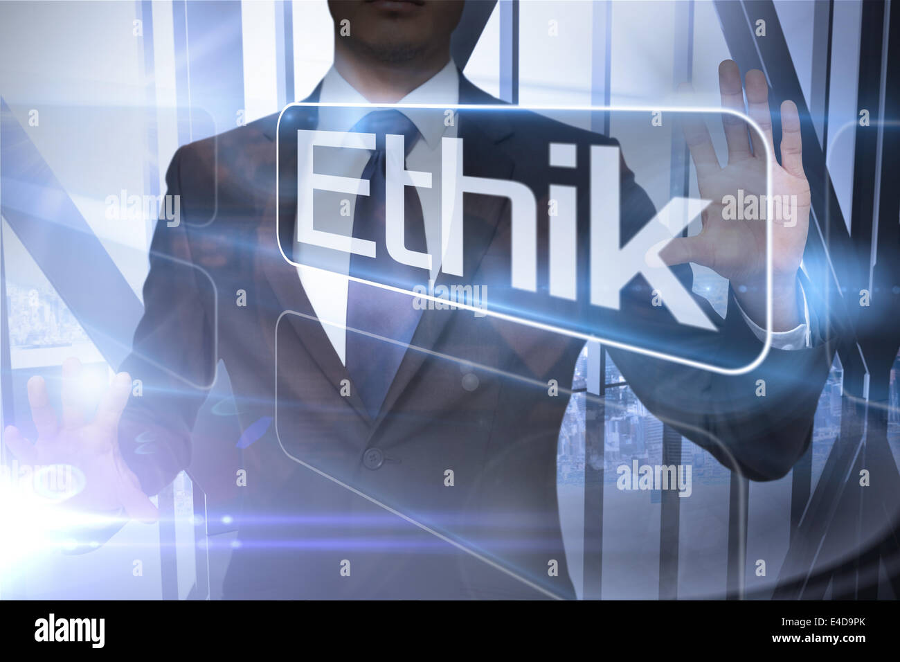 Businessman presenting the word ethics in german - Stock Image