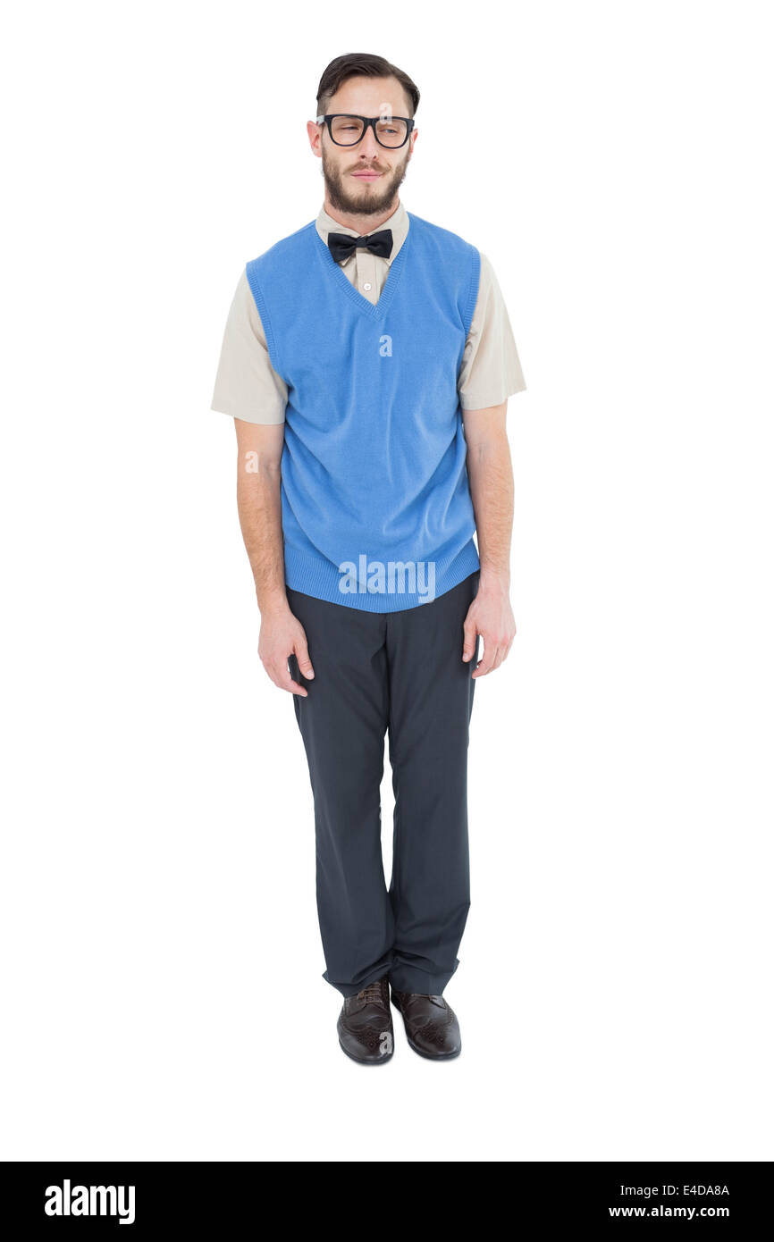 Geeky hipster wearing sweater vest - Stock Image