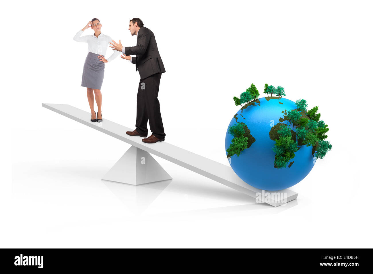 White scales measuring business people and earth - Stock Image