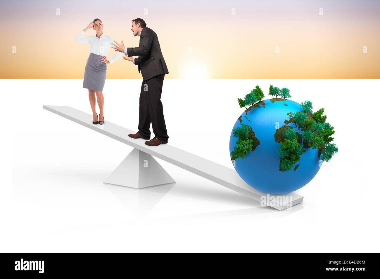 White scales weighing business people and earth - Stock Image