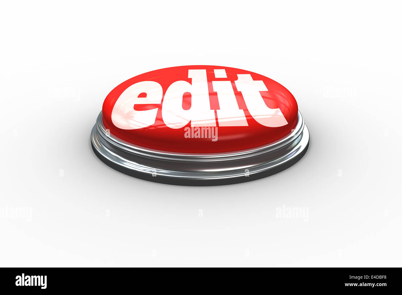 Edit on digitally generated red push button - Stock Image