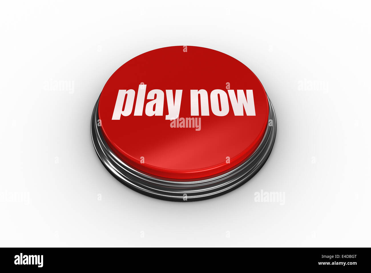 Play now on digitally generated red push button - Stock Image