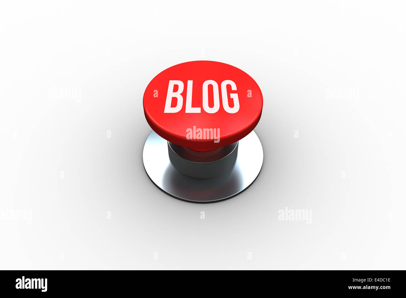Blog on digitally generated red push button - Stock Image