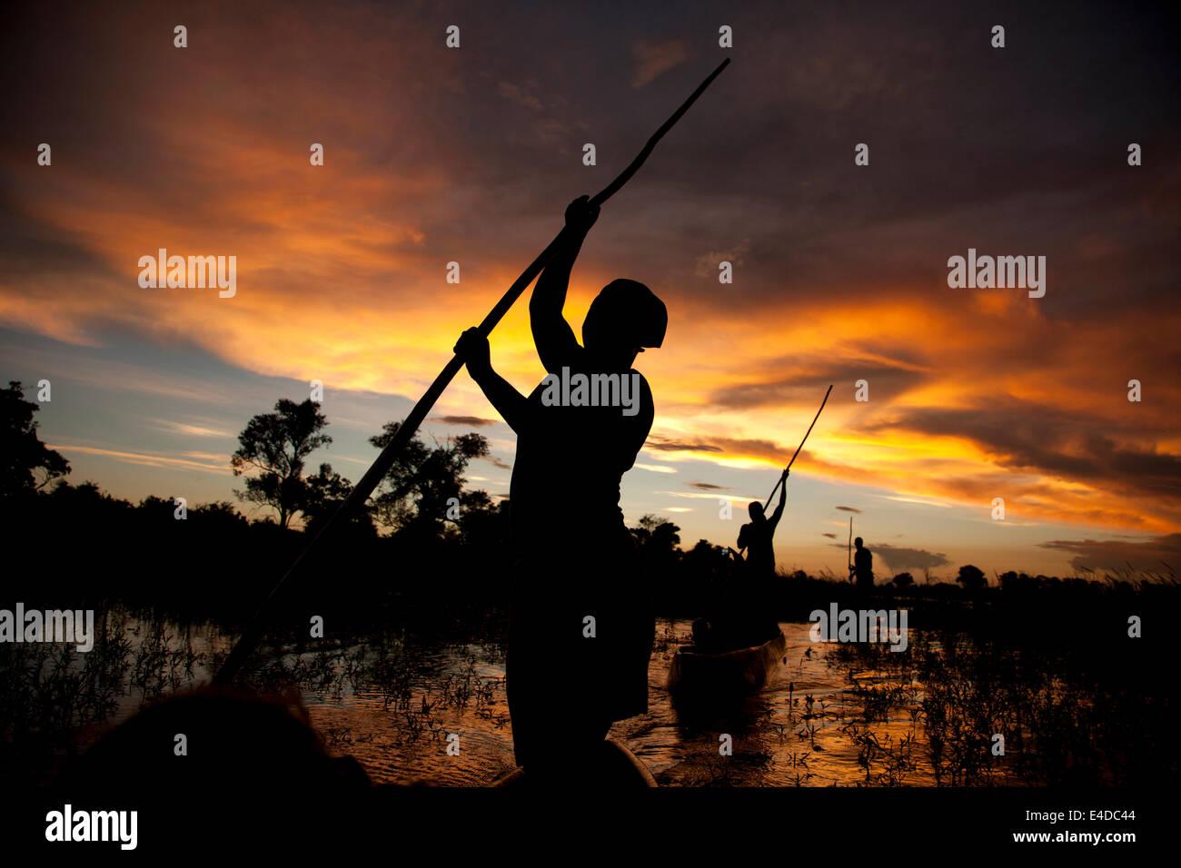 Poler on a traditional mokoro boat in the Okavango Delta at sunset, Botswana, Africa Stock Photo