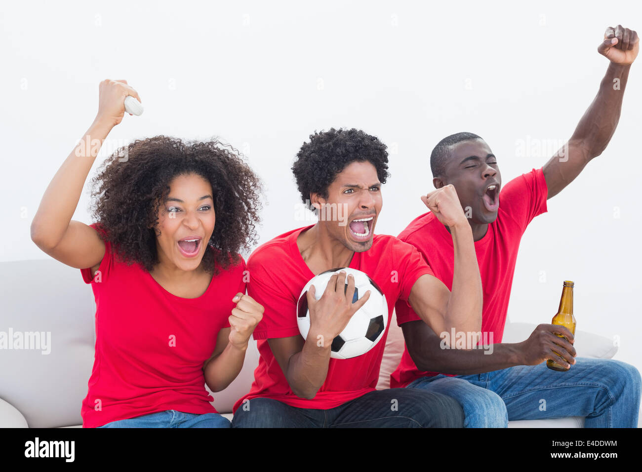 African football fans cheering