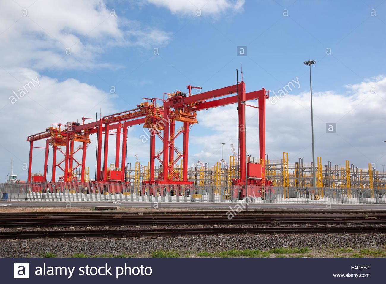 Cargo crane in dockyard - Stock Image