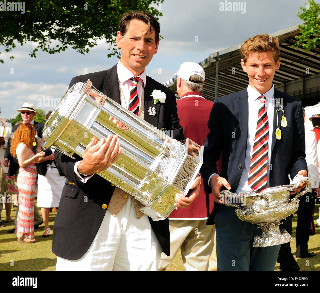 Grand Challenge Cup  with its new base seen in the  in the Stewards Enclosure at the 175th Henley Royal Regatta - Stock Image