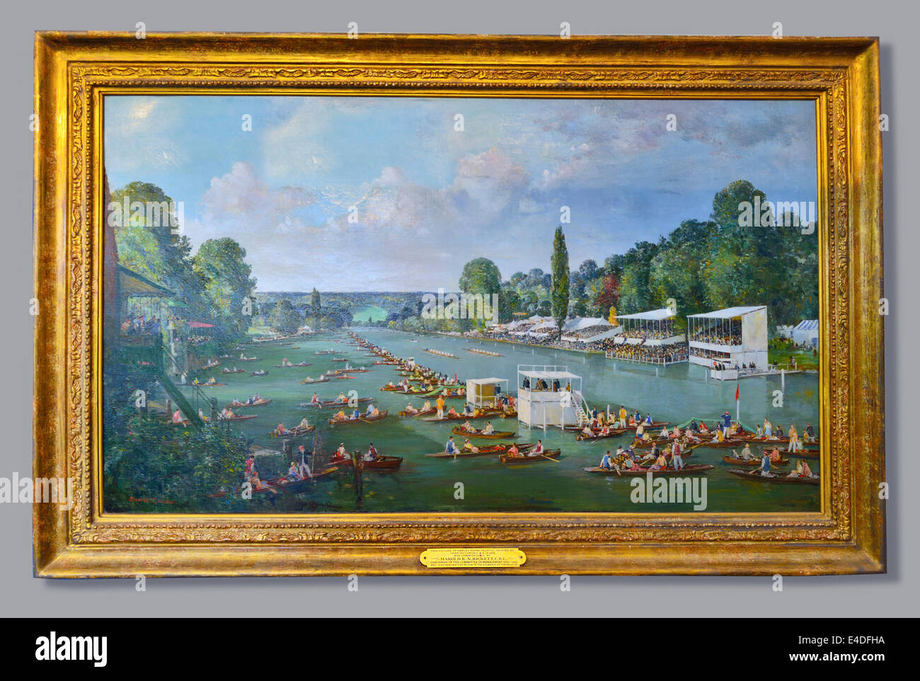 Painting of the first Henley Regatta in 1839 later named Henley Royal Regatta with royal patronage - Stock Image