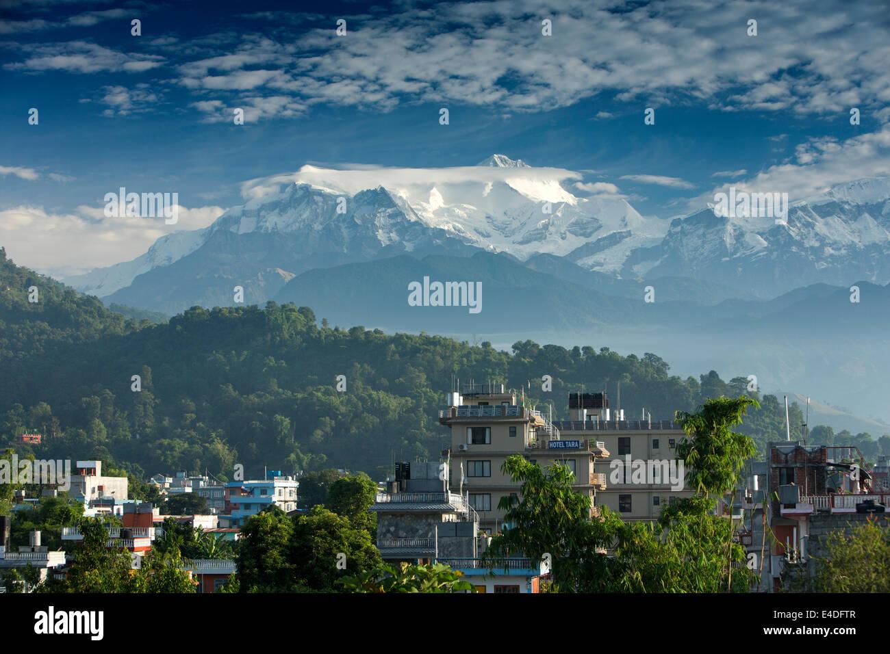 Nepal, Pokhara, Annapurna Mountain Range, in early morning light above Pokhara - Stock Image