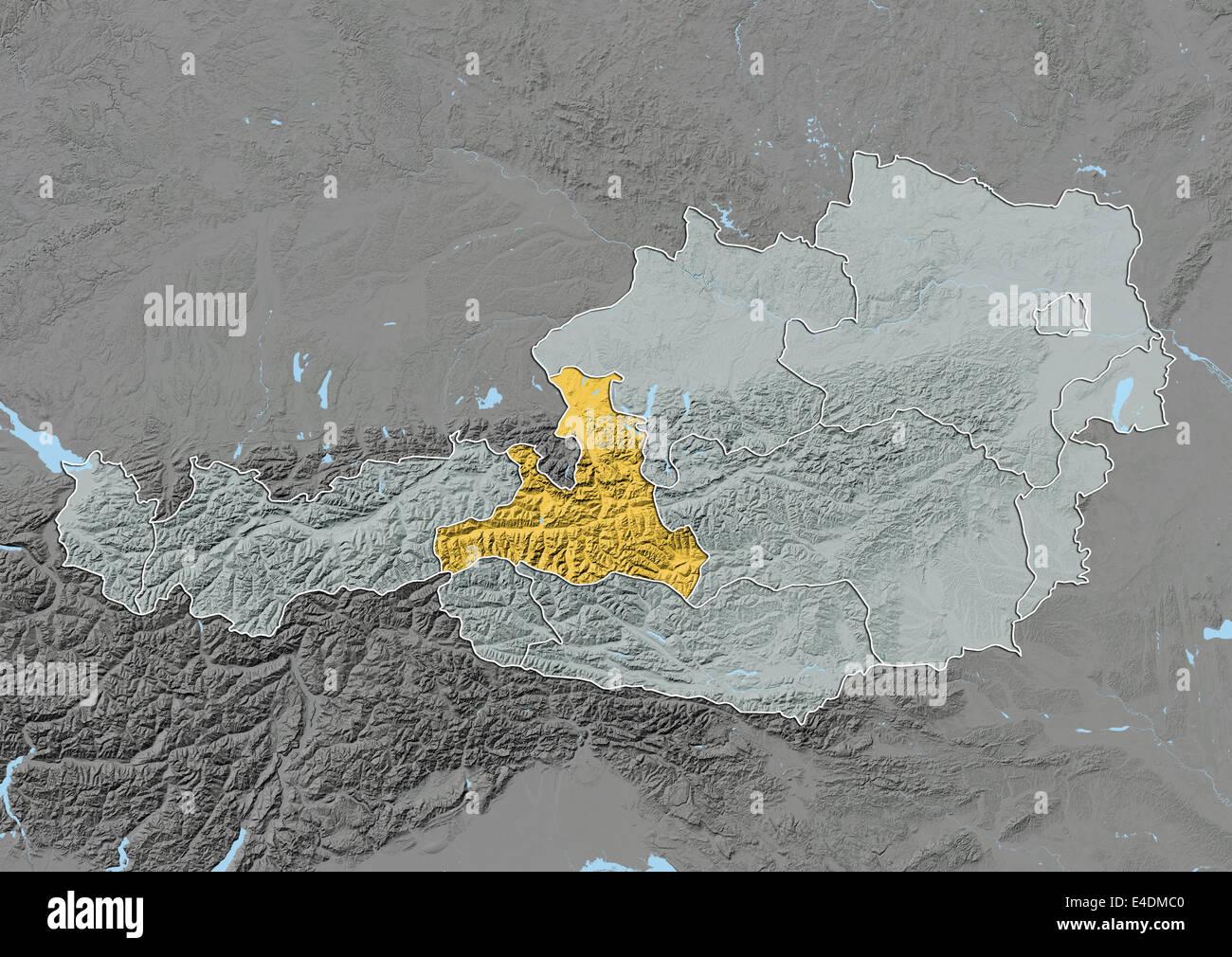 Salzburg state map stock photos salzburg state map stock images state of salzburg austria relief map stock image gumiabroncs Gallery