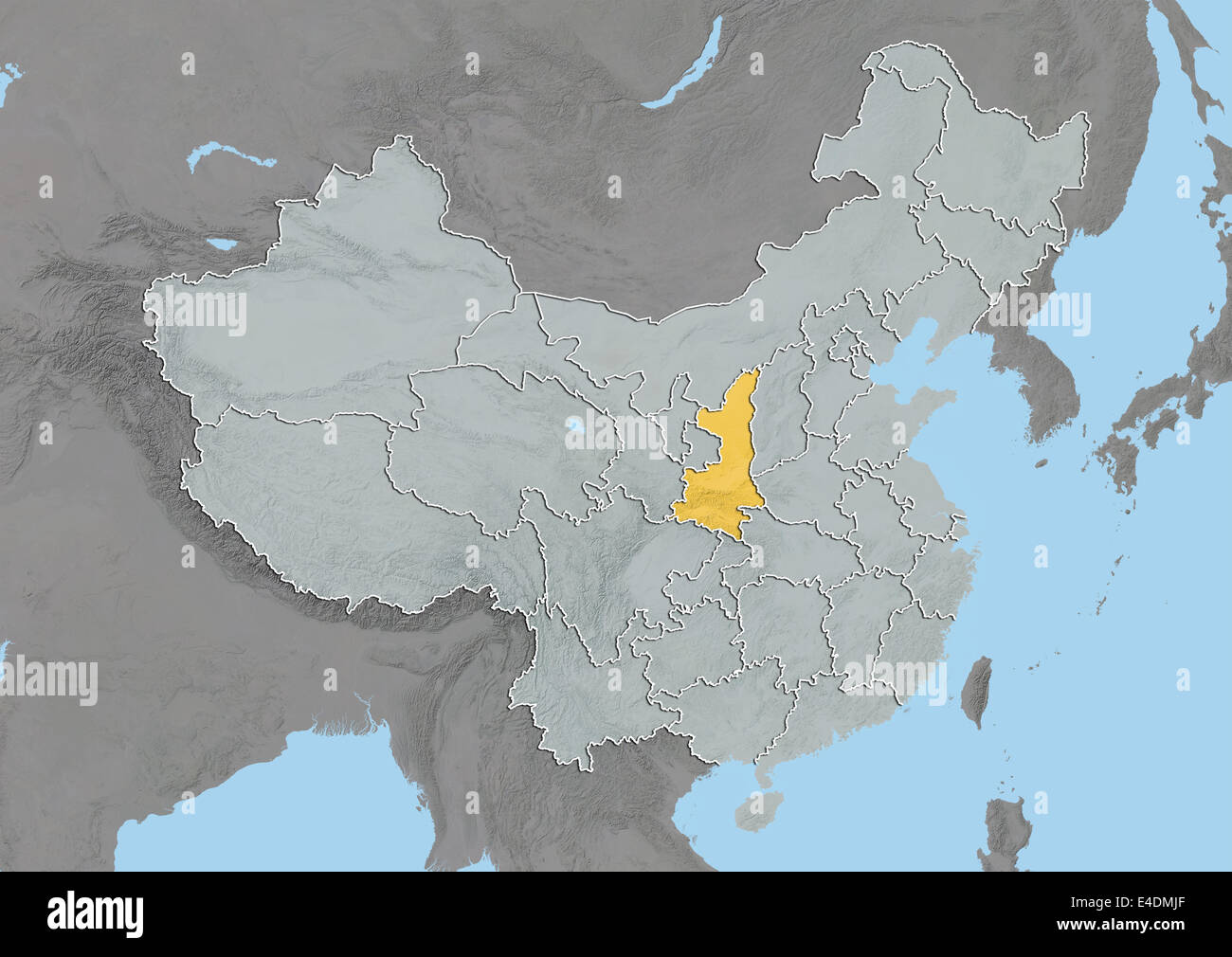 Shaanxi china asia map stock photos shaanxi china asia map stock province of shaanxi china relief map stock image gumiabroncs Image collections