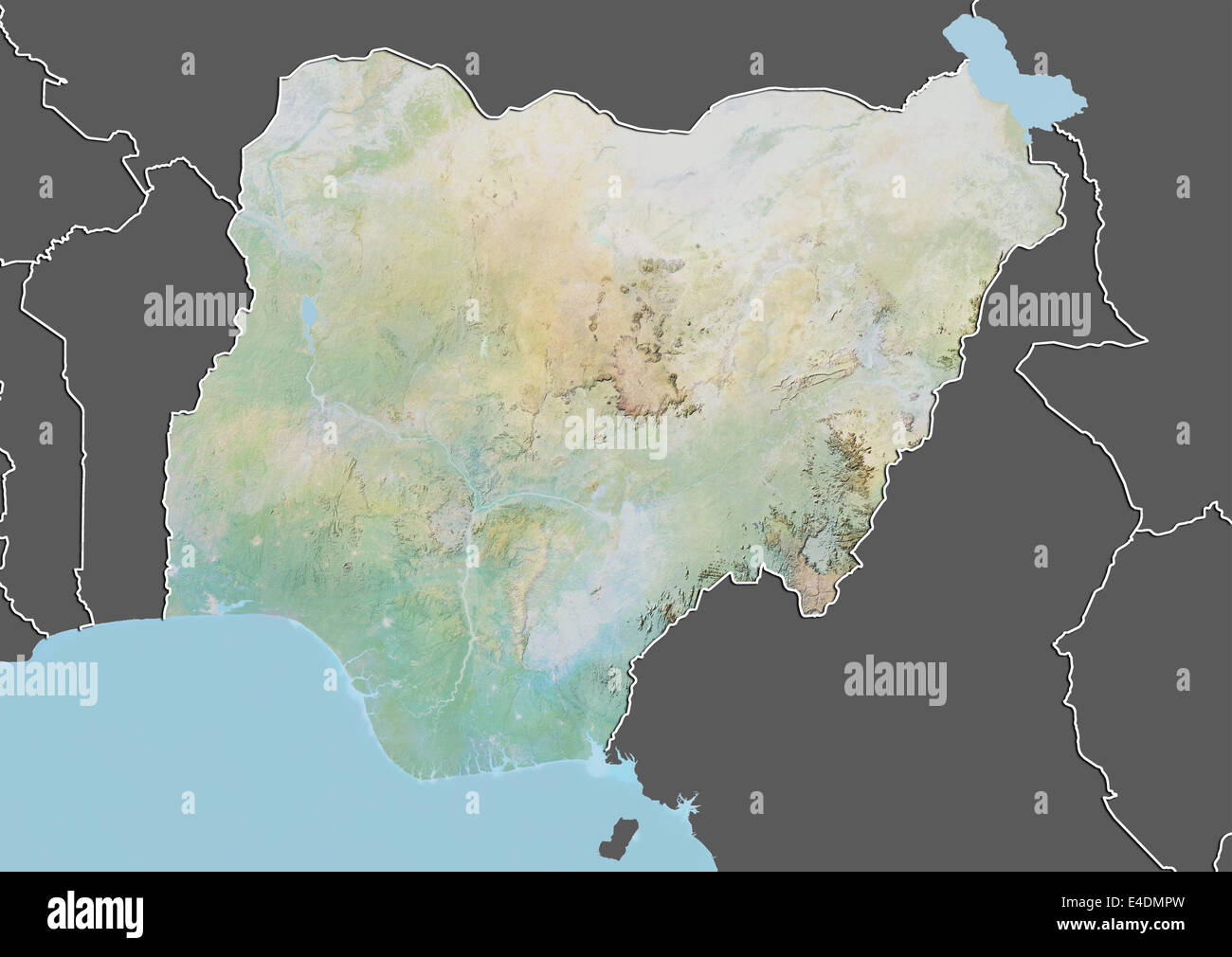 Map satellite geography nigeria stock photos map satellite nigeria relief map with border and mask stock image ccuart Gallery