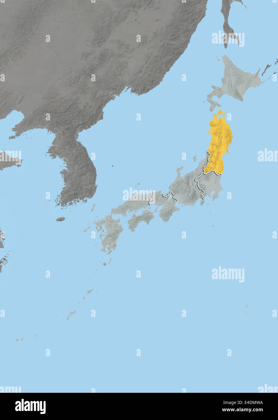 Region of Tohoku, Japan, Relief Map Stock Photo