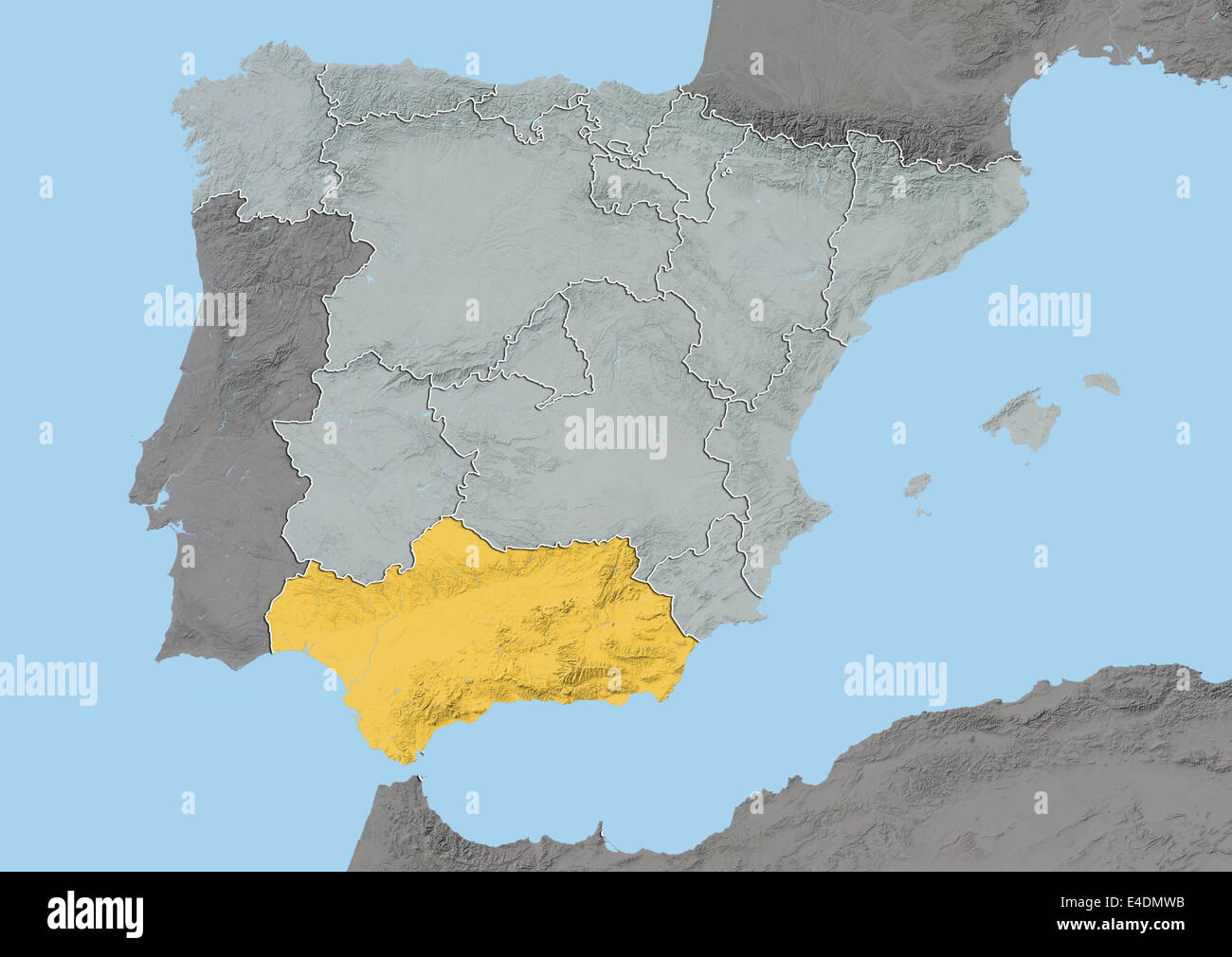 Andalusia Cartina Geografica.Andalusia Spain Relief Map Stock Photo 71601863 Alamy