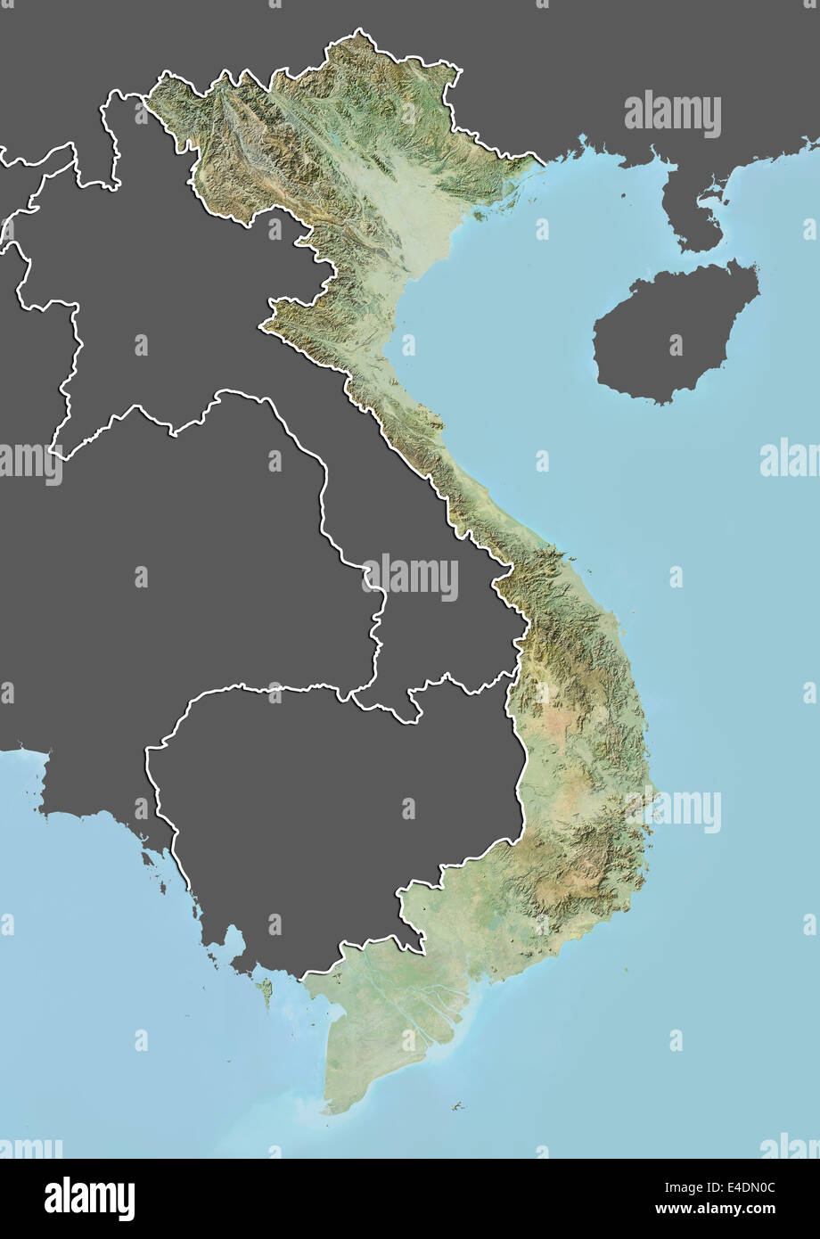 Vietnam map satellite geography stock photos vietnam map satellite vietnam relief map with border and mask stock image publicscrutiny Images