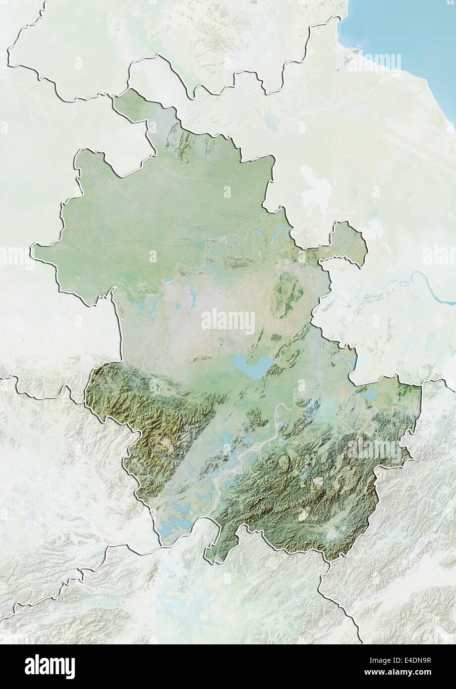 Province Of Anhui China Relief Map Stock Photo 71602211 Alamy