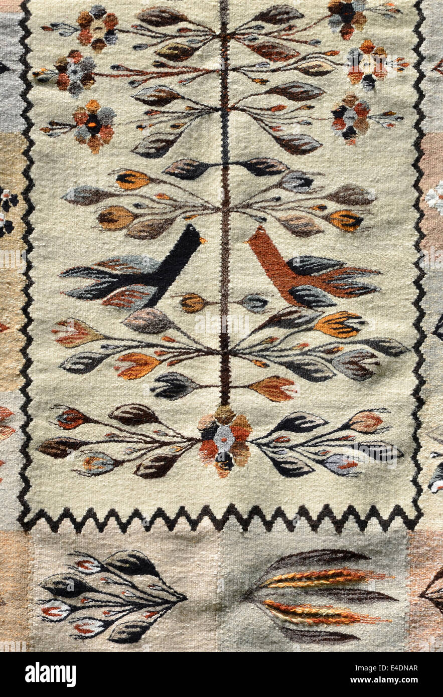 Romanian traditional carpet, with colored design - Stock Image