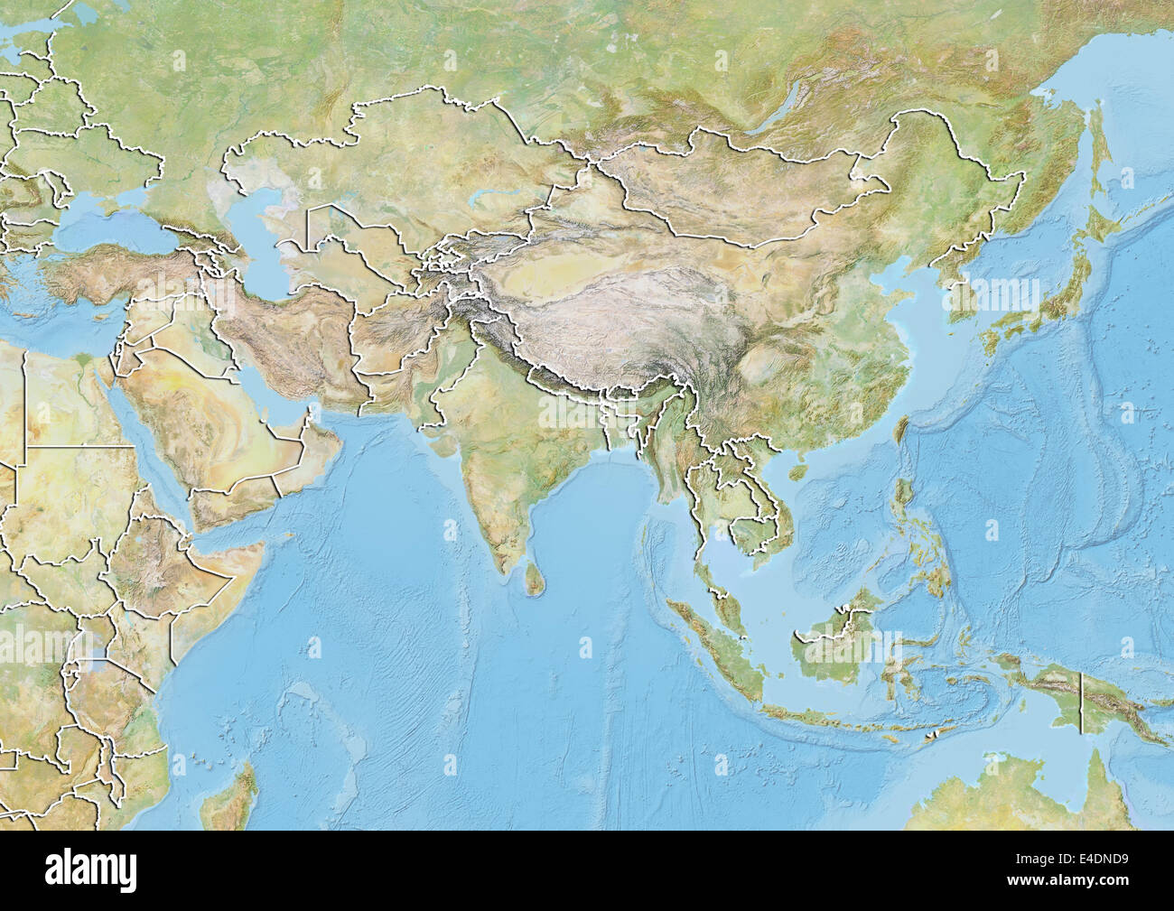 Topographic Map Asia.Asia Relief Map With Country Borders Stock Photo 71602309 Alamy